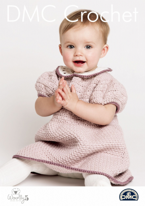 Rosie Ruche Dress 15416L/2 - Baby Woolly 5 DMC Crochet Pattern